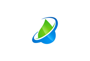 eco water green and blue vector logo