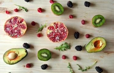 Aerial photo of raspberries, strawberries, avocado and kiwi