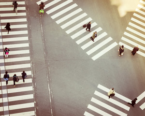Crossing sign top view people walking