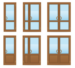 brown plastic transparent doors vector illustration