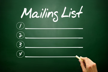 Mailing list blank list, business concept on blackboard