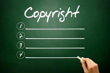 COPYRIGHT blank list, business concept on blackboard