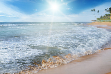 sea, blue sky and sun