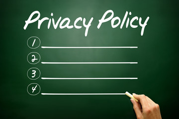 Privacy Policy blank list, business concept on blackboard