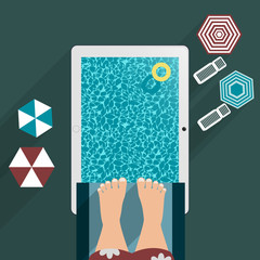 jump jumping into the pool, the tablet into flat for your design