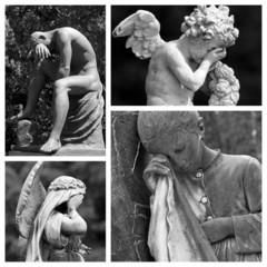 mourning collage -images from european monumental  cemeteries