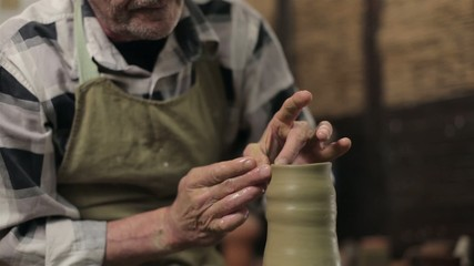 Making a pot from clay