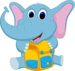 happy elephant with school bag