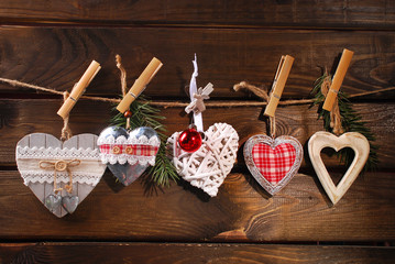 christmas hearts collection hanging on twine