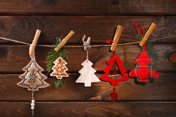 christmas tree shaped decoration collection hanging on twine