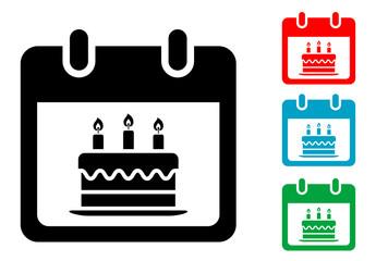 Pictograma calendario con simbolo tarta con varios colores