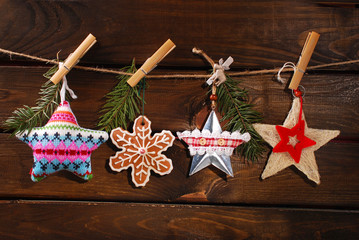 christmas stars collection hanging on twine