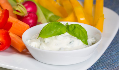 Gemüsesticks mit Kräuter und Tomaten dip