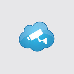 Blue cloud security camera icon