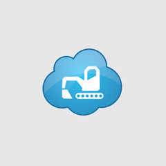 Blue cloud excavator icon.