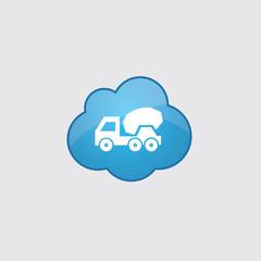 Blue cloud concrete mixer icon.