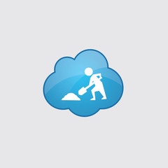 Blue cloud construction works icon.