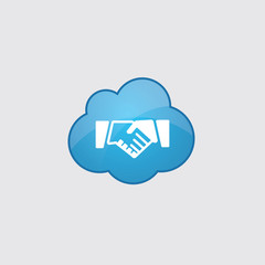Blue cloud Handshake icon.