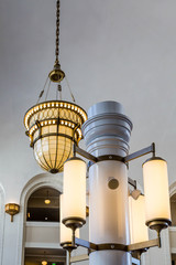 Ornate Columns and Lamps in Classic Interior