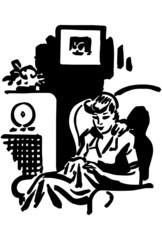 Woman Listening To Radio Show