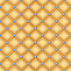Seamless golden quilted background with pins.