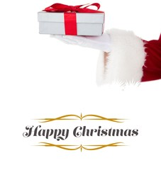 Composite image of santa claus showing gift with red ribbon