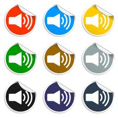 Speaker icon. Set of blank stickers
