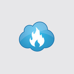 Blue cloud fire icon.