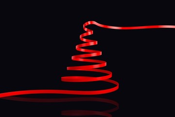 Composite image of red christmas tree ribbon