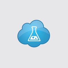 Blue cloud laboratory icon.