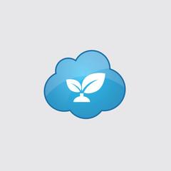 Blue cloud plant icon.