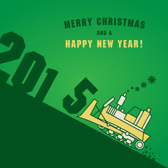 Happy New Year greeting card - bulldozer at work
