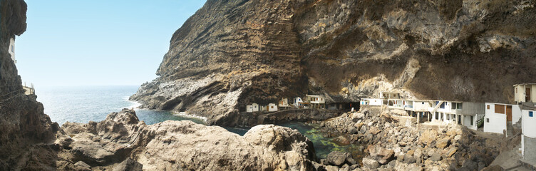 Village in the coastline. Poris de la Candelaria. Spain