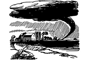 Tornado Approaching Farm