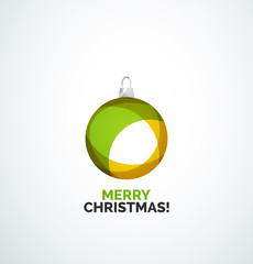 Merry Christmas card - abstract ball, bauble
