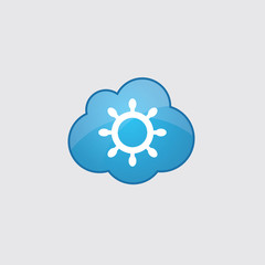 Blue cloud ship wheel icon.