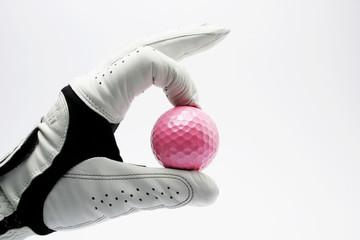 Golf glove pink ball