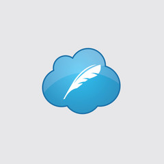 Blue cloud feather icon.