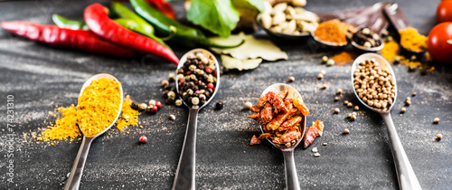 Fotobehang Keuken spoons with spices