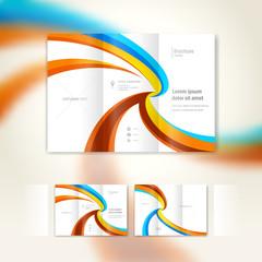 brochure wave design template folder leaflet  geometric abstract