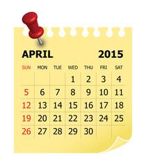 2015 Calendar- April