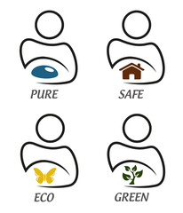 Eco green and environment protection icon set