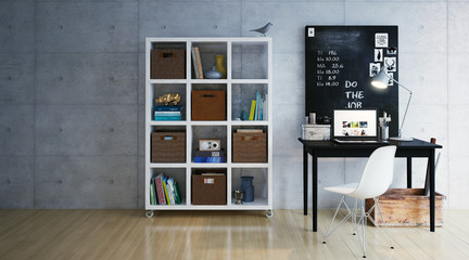 Schreibtsich an Wand mit regal - Workplace with shelf