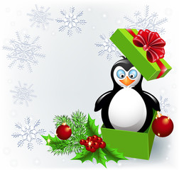 Penguin in the Christmas gift box