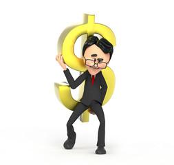 3d businessman carrying dollar symbol on the shoulder