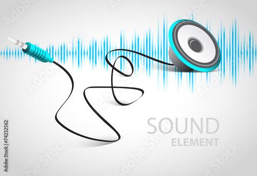 audio speaker sound music element cable connector curve bend - 74232562