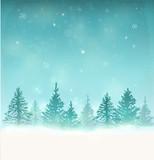 Fototapety Merry Christmas Landscape. Vector