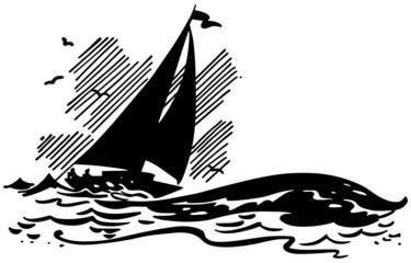 Sailboat On Big Waves