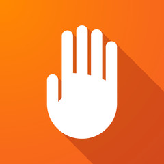 Long shadow icon with a hand