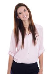 Glückliche junge Frau in der Berufsausbildung freigestellt